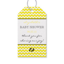 Yellow and White Chevron Baby Shower Thank You Gift Tags