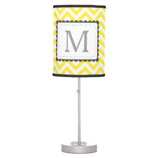 Yellow And White Chevron Custom Monogram Desk Lamp