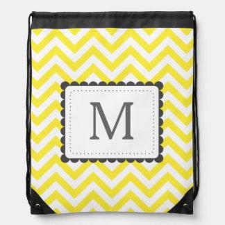 Yellow And White Chevron Custom Monogram Cinch Bag