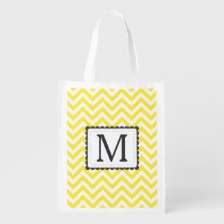 Yellow And White Chevron Custom Monogram Reusable Grocery Bag