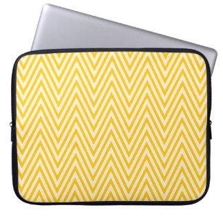 Yellow and white chevron laptop sleeve