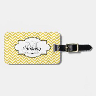Yellow and White Chevron Stripe Luggage Tag
