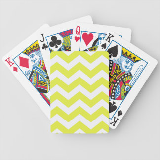 Yellow And White Chevron Stripes Bicycle Playing Cards