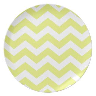 Yellow And White Chevron Stripes Melamine Plate