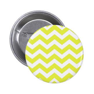 Yellow And White Chevron Stripes Pinback Button