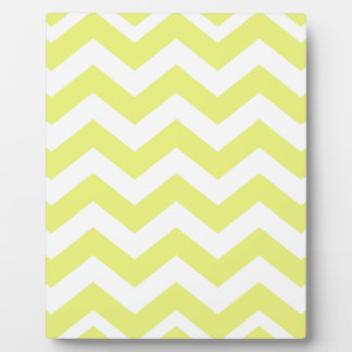 Yellow And White Chevron Stripes Plaque