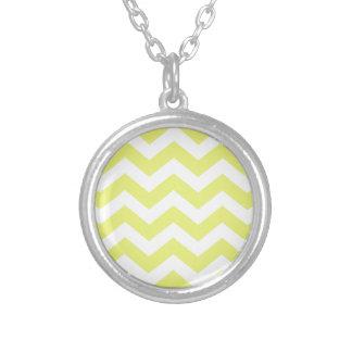 Yellow And White Chevron Stripes Round Pendant Necklace