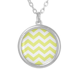 Yellow And White Chevron Stripes Silver Plated Necklace