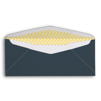 Yellow and White Chevron with Charcoal Envelope
