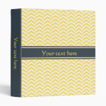 Yellow and White Chevron with Charcoal Vinyl Binder