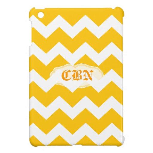 yellow and white chevron zig zag pattern iPad mini covers
