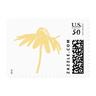 Yellow and White Chic Flower Wedding Postage