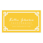 Yellow and White Chic Greek Key Border Double-Sided Standard Business Cards (Pack Of 100)
