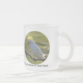 Yellow and White Cockatoo Parrot 10 Oz Frosted Glass Coffee Mug