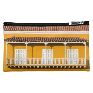 Yellow and White Colonial Balcony Cosmetic Bag