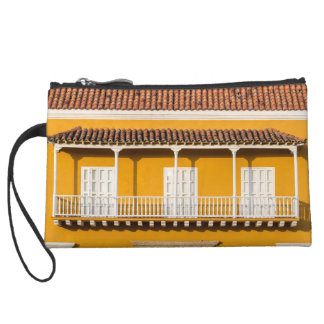 Yellow and White Colonial Balcony Wristlet Wallet
