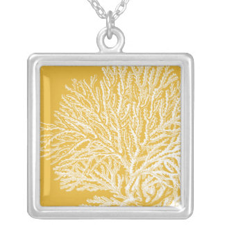 Yellow and White Coral Silver Plated Necklace