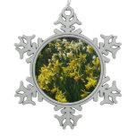 Yellow and White Daffodils Spring Flowers Snowflake Pewter Christmas Ornament