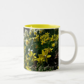 Yellow and White Daffodils Spring Flowers Two-Tone Coffee Mug