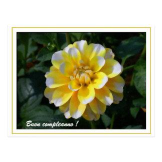 Yellow and white dahlia birthday italian postcard