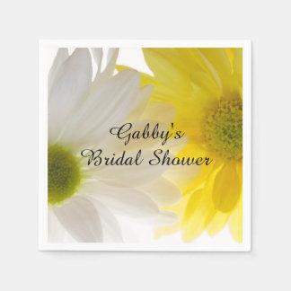 Yellow and White Daisies Bridal Shower Paper Napkin