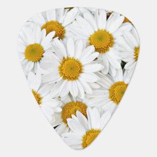 Yellow and white daisies guitar pick
