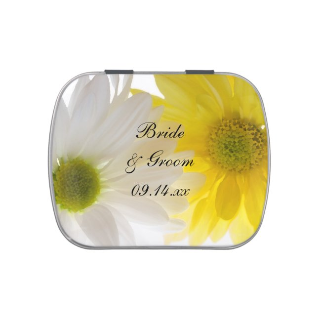 Yellow and White Daisies Wedding Favor Jelly Belly Tin