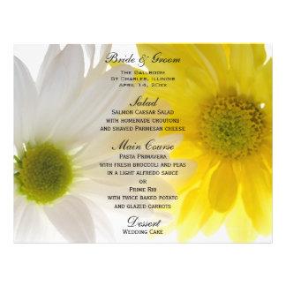 Yellow and White Daisies Wedding Menu