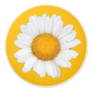 Yellow and white daisy ceramic knob