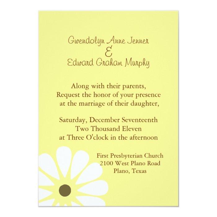 White Daisy Heart Wedding Invitation: Yellow And White Daisy Wedding Invitation