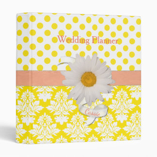 Yellow and White Damask and Dots Wedding Binder