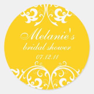 Yellow and White Damask Bridal Shower Sticker