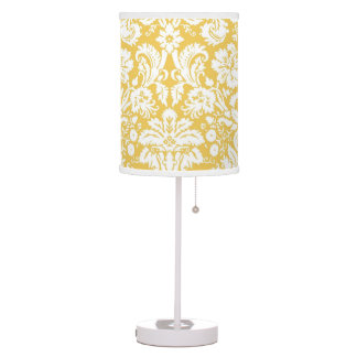 Yellow and White Damask Desk Lamp