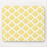 Yellow and White Damask Mousepad