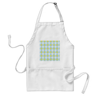 Yellow and white damask pattern on blue background adult apron