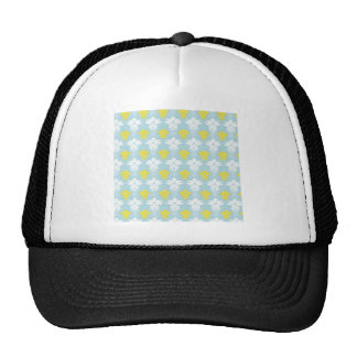 Yellow and white damask pattern on blue background trucker hat