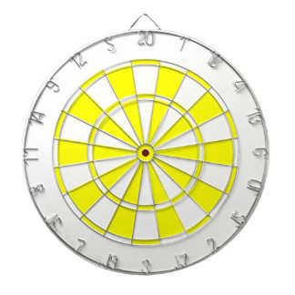 yellow and white dart boards