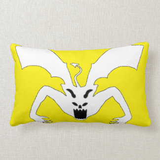 Yellow And White Devil Lumbar Pillow