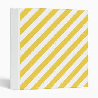 Yellow and White Diagonal Stripes Pattern 3 Ring Binder
