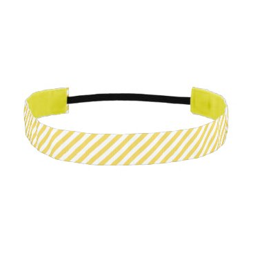 Beach Themed Yellow and White Diagonal Stripes Pattern Athletic Headband