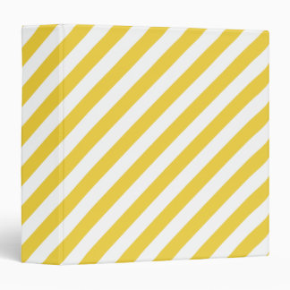 Yellow and White Diagonal Stripes Pattern Binder