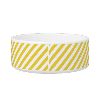 Yellow and White Diagonal Stripes Pattern Bowl