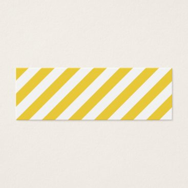 Beach Themed Yellow and White Diagonal Stripes Pattern Mini Business Card