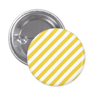 Yellow and White Diagonal Stripes Pattern Pinback Button