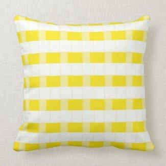 Yellow and White Dimensional Checks Throw Pillow