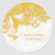 Yellow and White Floral Spring Wedding Classic Round Sticker