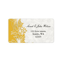 Yellow and White Floral Spring Wedding Label