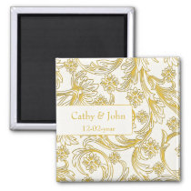 Yellow and White Floral Spring Wedding Magnet