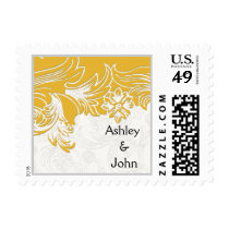 Yellow and White Floral Spring Wedding Postage