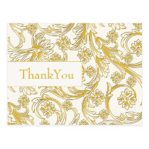 Yellow and White Floral Spring Wedding Postcard